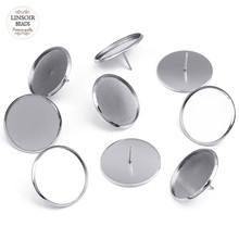 50pcs/lot Stainless Steel Blank Earring Base 25mm Big Round Earring Setting Cabochon Cameo Base for DIY Earring Jewelry Making(China)