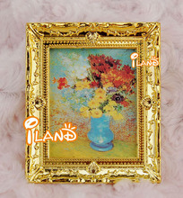 iland 1:12 Dollhouse Miniature Furniture Golden Framed Picture Flower OM001C(China)