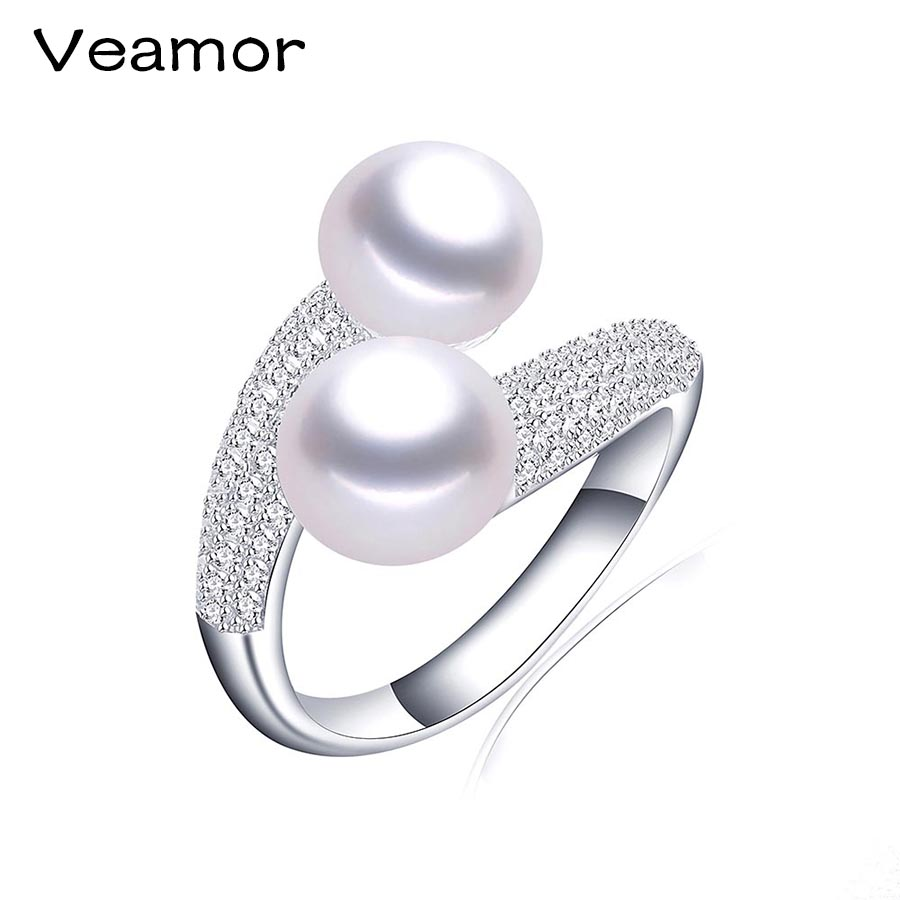 High Quality 925 Sterling Silver Double Pearls Rings AAA Cubic Zircon 2017 New Fashion Jewelry Vintage Wedding Rings Gifts R054(China (Mainland))