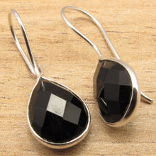 Natural BLACK ONYX Gems Women's Girls Fashionable Earrings !  Silver Plated