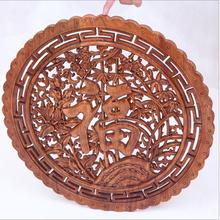 WSHYUFEI round wall decoration wedding decoration high quality camphor solid wood carving crafts / office furnishings gifts good(China)