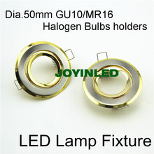 Free shipping 65mm cut out GU10 MR16 LED Fixture trims golden downlight fitting for home