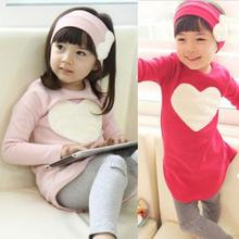 Toddler Girls Clothing Sets Baby Kids Heart Shirt Dress+Leggings+Headband Kids 3PCS Cotton Outfit 2--7Y  Hot