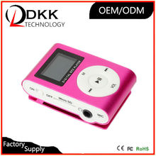 fashion design mini clip mp3 player with screen support TF card cheap mp3 player with earphone and usb cable