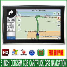 5 inch HD Car OS CE 6.0 GPS Navigation CPU 800MHZ FM/4GB/DDR3 128M Newest Maps For Europe/USA/Russia MTK MS2531 vehicle Navi