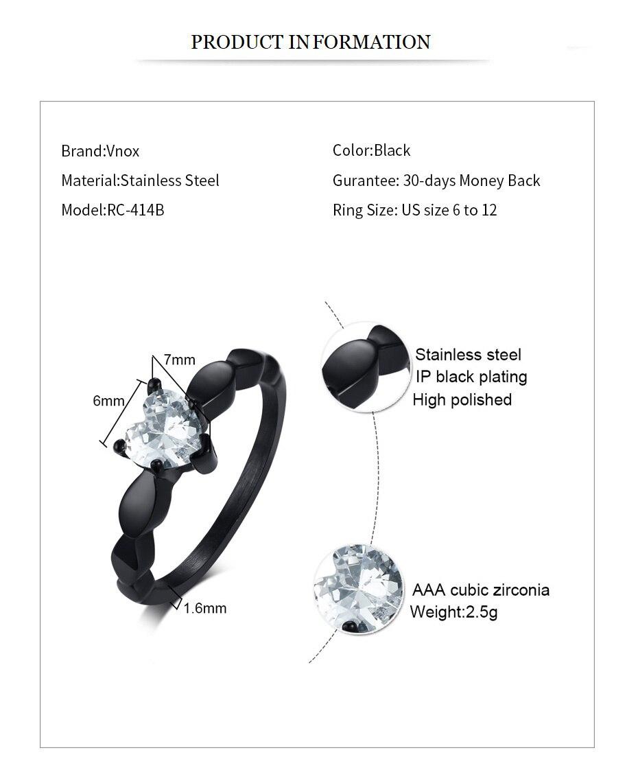Bling CZ Black Stainless Steel Female Rings