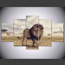 DAFENJINGMO ARTS 5 Pieces Wall Art Printed Animals Lion Group Painting by Numbers Room Decor Print Poster Picture Canvas Poster