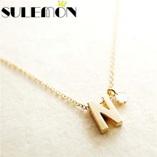 Personalized Initial Name Necklace Couple Pendant Charm Jewelry For Women Rhinestone Letter Gold Color Chain Fashion Love Gift(China)