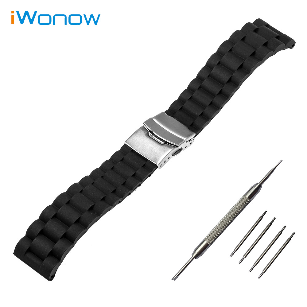 Silicone Rubber Watch Band 22mm for Pebble Time / Steel Stainless Safety Buckle Strap Wrist Belt Bracelet Black + Spring Bar<br><br>Aliexpress