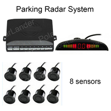 9 colors available with LED Display Car Parking Sensors Buzzer 8 sensors Reverse Backup Radar System Indicator Free Shipping