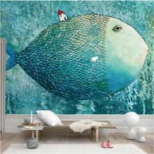 wholesale fish fairy ocean blue color wall background poster mural wallpaper for living room bedroom discount