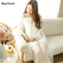 RenYvtil Princess Nightgown Women summer Long-sleeved Sleepwear Retro Translucent Lace Sress Sexy Ice Silk Nightwear Plus Size(China)