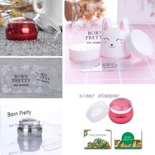 BORN PRETTY 1 Set Cute Nail Art Stamper Different Size Nail Art Silicone Soft Jelly Stamp Tool With Scrapers for Nail Stamping