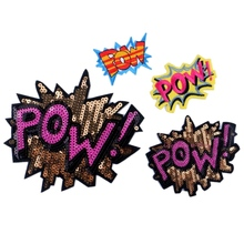 Sequined Patches POW logo Letter Big Badge Brand Name Embroidered Patch sticker Cartoon Motif Applique Children Clothes Clothing