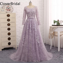 Robe De Soiree 2017 Long Sleeves Evening Dress Light Purple Lace Long Formal Party Gown Abendkleider(China)