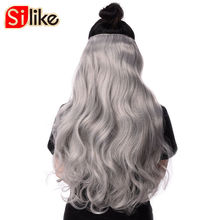 Silike 190g 60cm Stretched Wavy Clip in Synthetic Hair Extensions 17 Pure Colors 4 Clips/piece Heat Resistant Fiber for Women