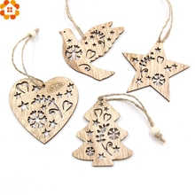 12PCS DIY Heart&Star&Tree&Bird Wooden Pendants Ornaments Xmas Tree Ornaments Home Wedding/Christmas Party Decorations Kids Gift(China)