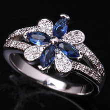 Brilliant Flowers Gems London Deep Blue Onyx White Cubic Zirconia 925 Sterling Silver Rings US# Size 6 7 8 9 S1785(China)