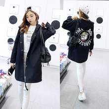 2017 New Autumn Women Casual Student Hoodies Outwear Loose Trench Coat  Dog Letter Print  Fashion Basic Trench Plus Size XS-2XL