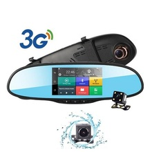 "3G Wireless 5""Touch Car DVR Android 5.0 GPS Navigation Bluetooth Dvr Dual Lens Dash Cam FHD 1080p Rearview Mirror Camera"