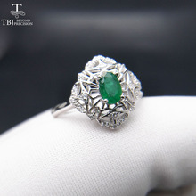 TBJ,Natural Zambia Green Emerald 0.5ct oval cut 4*6mm gemstone Ring for lady in 925 sterling silver fine jewelry with gift box(China)