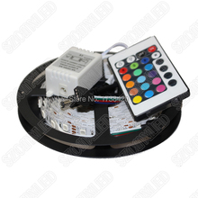 2set 24keys Remote Controller 14.4 W/m RGB LED Strip 5050 SMD Set 60leds Led Strip 12V DC Waterproof IP65 RGB LED Rope Light 10m