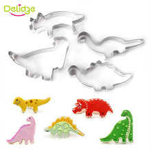 Delidge 4pcs/set Dinosaur Cookie Cutter Mold 3D Biscuit Sugarcraft Dessert Baking Mould Fondant Wedding Cake Decorating Tools