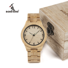 BOBO BIRD WD27 Bamboo Wooden Watch for Men Unique Lug Design Top Brand Luxury Quartz Watches Night Green Pointer in Wood Box