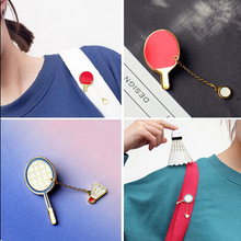 XT028  Accessories  Cute Cartoon Table tennis Badminton Brooch Pins,Fashion Jewelry Wholesale
