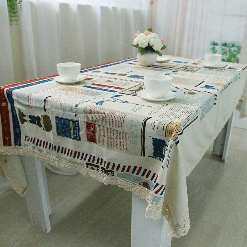 Натуральный хлопок скатерти чай скатерть прямоугольник Ресторан Кухня пластиковое покрытие стола края шнурка прямоугольная скатерть(China)