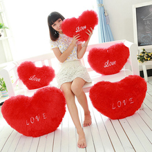 Hot 1 Pc Kids Plush Soft Stuffed Red Love Heart Shape Pillow Toys Doll for Wedding Party Decor Children Kawaii Cute Gifts 2017