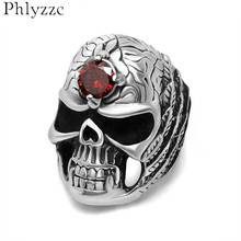 Fashion Mens Stainless Steel Skull Ring With Red CZ Antiqued Leaves Design Goth Biker Jewelry Cool Accessories Big Size R620(China)