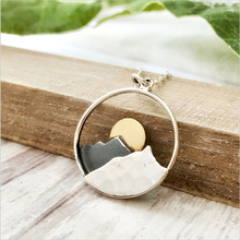 Creative Design Sunrise Sunset Landscape Pendant Necklace Cameo Simple Stylish Necklaces Jewelry For Woman Girls