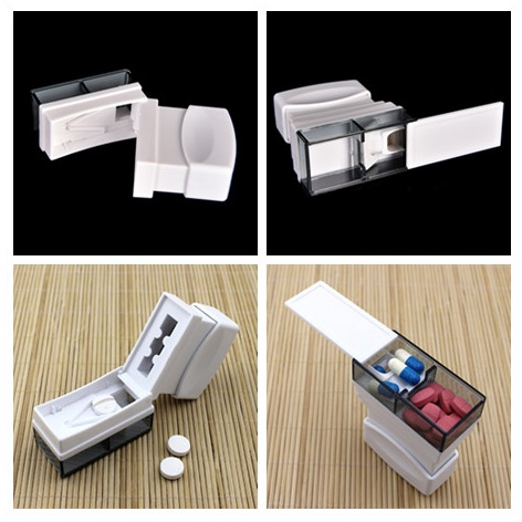 1PC High Quality Medication Pill Cutter Medicine Divider Safe Splitter Container Tablet Divider Organize Box Home Travel Use