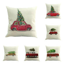 Christmas Tree Cushion Cover Car Christmas Gift pillow coverPillow Covers 45X45cm Thin Linen Cotton Bedroom Sofa Decoration