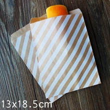 White Striped Kraft Paper Bags, Favour bags, treat bags, giftwrapping, baked goods bag 13x18.5cm 100pcs/lot