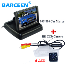 "color car screen monitor 4.3"" +shockproof car rear camera glass 8 led lens for NISSAN QASHQA/ X-TRAIL for Peugeot 307 Hatchback"