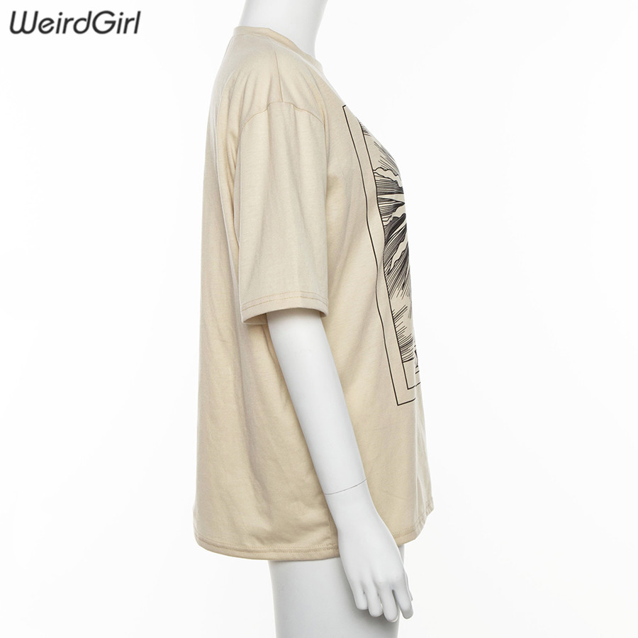 Weirdgirl women casual fashion t-shirt khaki letter sun moon print loose o-neck half sleeve elastic stretched summer home new 4