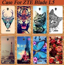 New Patterns SOFT TPU Back Phone Case For ZTE Blade L5 Fashion DIY painting pc Hard Cell Phone Cover For ZTE L5  L 5 Phone case