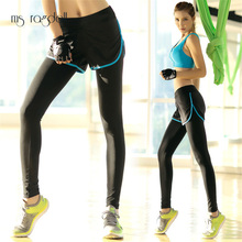 2017 Pro Women Sports Pants Super Stretch Yoga Pants For Female Gym Sports Legging Fitness Running Long Pants With Mesh Shorts