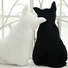 Fashion Plush Cushion Cartoon Cat Back Shadow Toys Solid Color Seat Sofa Pad Mat Stuffed Pillow Kids Toy For Gift YH-17(China)