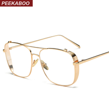 Peekaboo ladies fashion eyeglasses frame women brand gold black square frame glasses side shield male female gafas