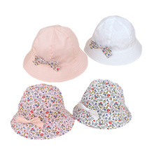 Flower Print Cotton Baby Summer Hat with Bow White/Pink Kids Girl Summer Cap Double Sides can Wear for 1-3 Years 1 PC