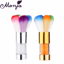 Nail Art Dust Cleaner Metal Rhinestones Brush Rainbow Hair Acrylic UV Gel Glitter Sequins Powder Remover Beauty Foundation Tool(China)