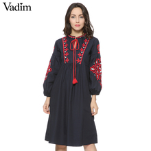 Women vintage floral embroidery dress drawstring tie tassels long sleeve Faldas festa casual brand loose retro dresses QZ2611(China)