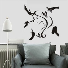 Fashion Lady Make Up Decals Beauty Salon Wall Stickers Home Decor For Girl's Bedroom Decals Home Decoration Accessories(China)
