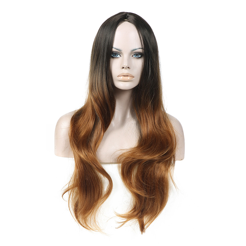 Hot Sell Ombre Hair Double Color Synthetic Full Lace Wigs For European And American Women Middle Part Long Laday Hairpieces<br><br>Aliexpress