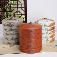 Hot sell Blue and white porcelain storage jars tea caddy chinese ceramic food container canister candy jar Black tea pie plate(China)
