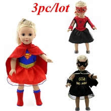 3pc/lot Doll Clothes Superhero Spiderman Superman Batman Clothes for 18 inch American Girl Doll Baby Born Zapf Doll Clothes Z12(China)