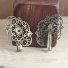 (30 pieces/lot) 30*45mm hollow flower base silver/antique bronze hair clip setting cy435